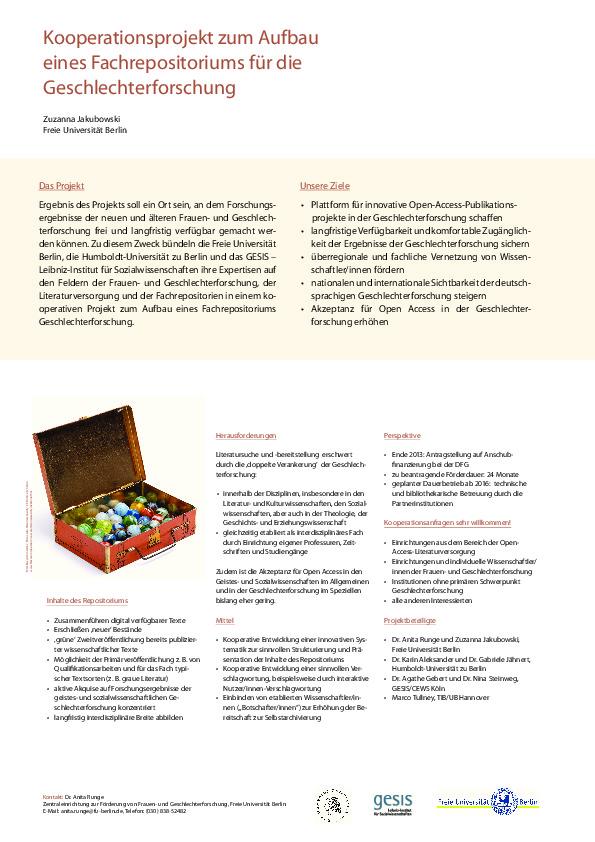 Kooperationsprojekt zum Aufbau eines Fachrepositoriums für die Geschlechterforschung
